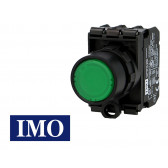 Bouton poussoir lumineux vert complet IMO Ø22mm, 1NO+1NC, LED 230V