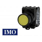 Bouton poussoir lumineux jaune complet Ø22mm, 1NO+1NC, LED 24V