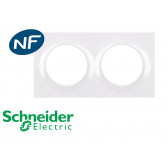 Plaque de finition blanche double Schneider Odace Styl