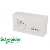 Prise en saillie 2P+T + USB double Schneider Odace