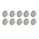 Lot de 10 spot LED GU10 argent 4.5W 3000K