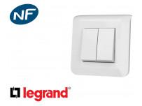 Interrupteur va et vient double Legrand Mosaic™ complet