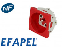 Prise de courant rouge 16A, 2P+T (45x45 enclipsable)