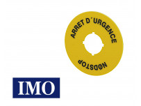 """Disque signalétique IMO jaune 60mm """"arrêt d'urgence"""" pour boutonnerie Ø22mm"""