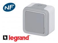 Poussoir simple Legrand Plexo™ gris complète