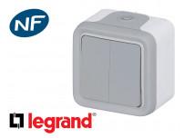Interrupteur va-et-vient double Legrand Plexo™ gris complète