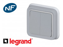 Interrupteur va-et-vient double Legrand Plexo™ gris encastrée