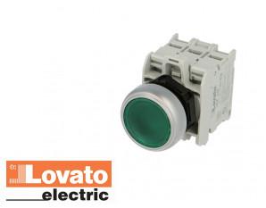 Bouton poussoir lumineux à LED, à impulsion. Vert. 24V