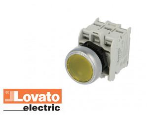 Bouton poussoir lumineux à LED, à impulsion. Jaune. 230V