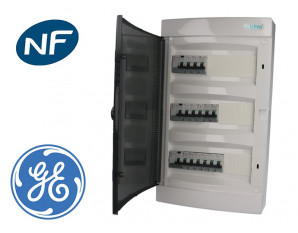 Tableau électrique, montage apparent, 14 disjoncteurs + 3 ID GE