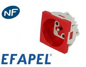 Prise de courant 16A 2P+T rouge Efapel 45x45