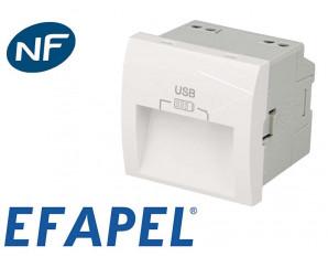 Prise chargeur USB double Efapel 45x45