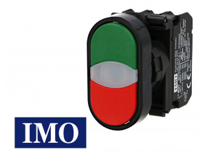Bouton poussoir lumineux vert & rouge complet Ø22mm, 1NO+1NC, LED 230V