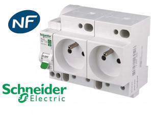 Combiné disjoncteur + 2 prises 2P+T Schneider Resi9 XE
