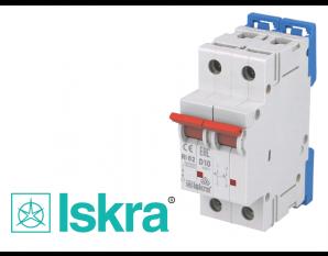 Disjoncteur bipolaire modulaire 10A courbe D Iskra
