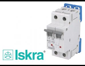 Disjoncteur bipolaire modulaire 16A courbe D Iskra