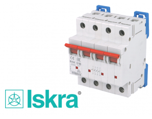 Disjoncteur tetrapolaire modulaire 10A courbe D Iskra