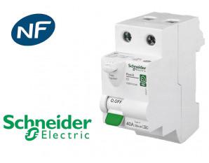 Interrupteur différentiel 2P 40A 30mA Type A Schneider Resi9 XE