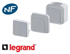 Interrupteur va-et-vient double Legrand Plexo™ gris