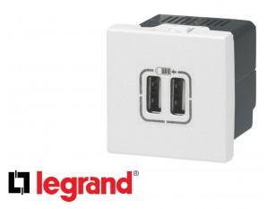 Alimentation USB double 2 modules Legrand Mosaic composable
