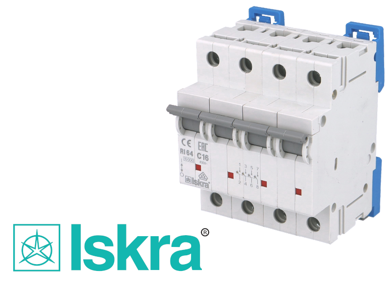 Disjoncteur tetrapolaire modulaire 16A courbe C Iskra