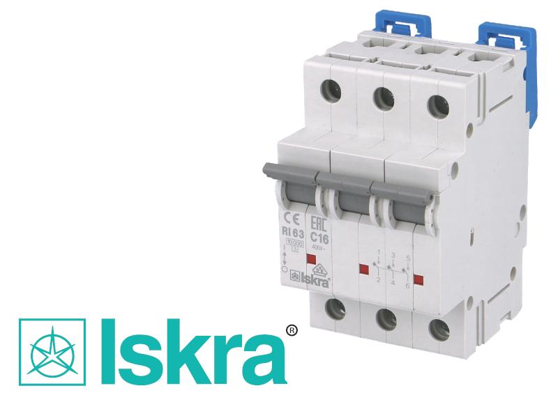 Disjoncteur tripolaire modulaire 16A courbe C Iskra