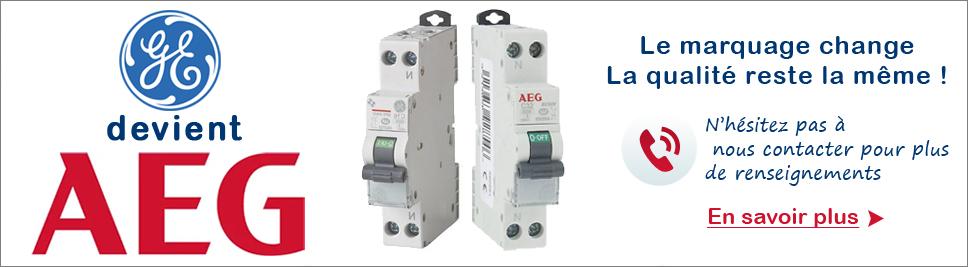 General Electric évolue en AEG en ventes sur bis-electric.com, votre distributeur de materiel electrique
