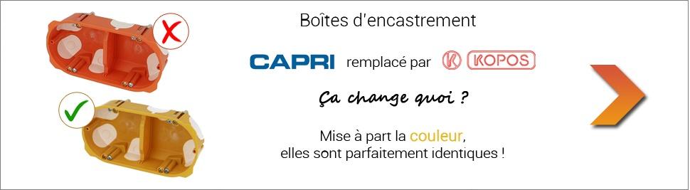 Les boites CAPRI remplacées par KOPOS sur bis-electric.com