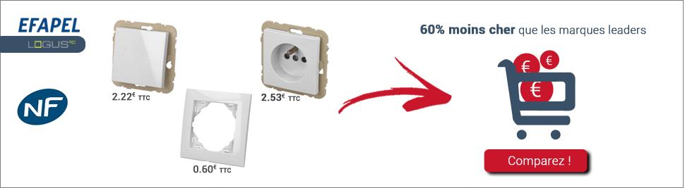 Retrouvez notre nouvelle gamme de prise et interrupteur Efapel Logus 90 en ventes sur bis-electric.com, votre distributeur de materiel electrique