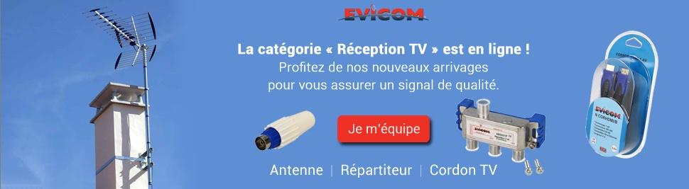 Nouvel arrivage de matériel d'installation et réception TV de la marque Evicom sur bis-electric.com